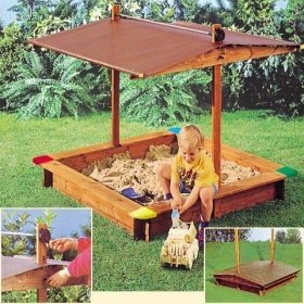 sandkasten mickey mit absenkbarem dach gaspo holz neu - SANDKASTEN MICKEY MIT ABSENKBAREM DACH GASPO HOLZ NEU